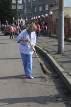 Экологический субботник в Дорожной клинической больнице на станции Красноярск